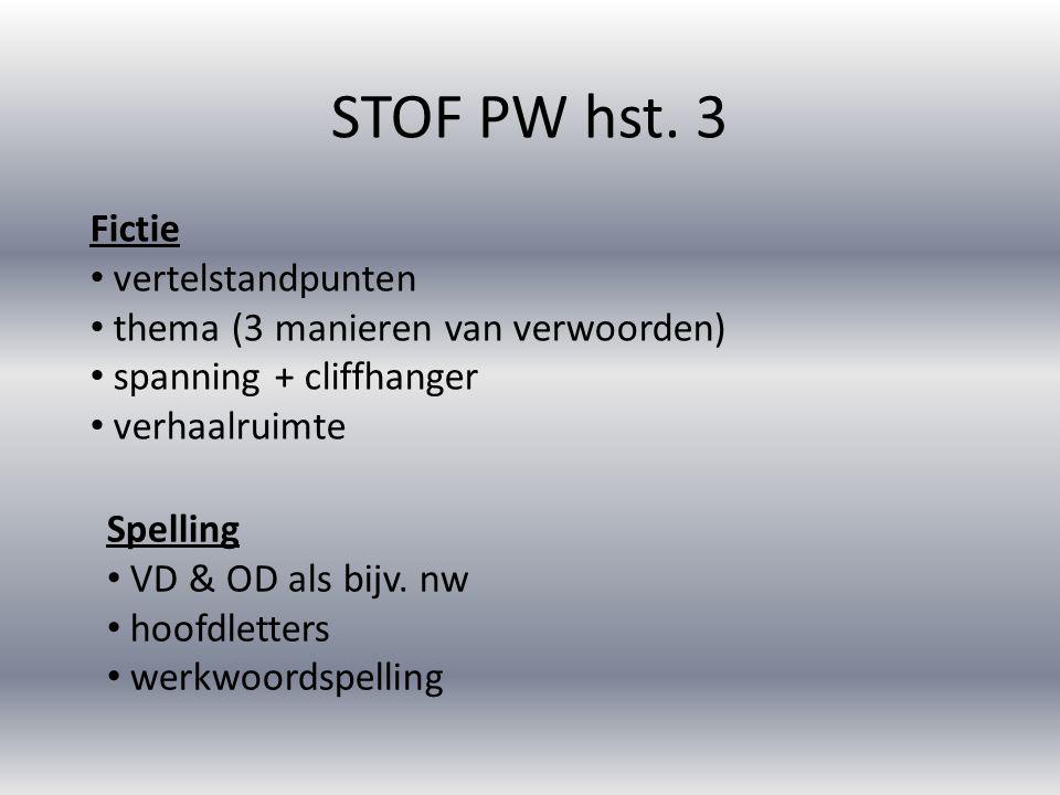 STOF PW hst. 3 Fictie vertelstandpunten thema (3 manieren van verwoorden) spanning + cliffhanger verhaalruimte Spelling VD & OD als bijv. nw hoofdlett