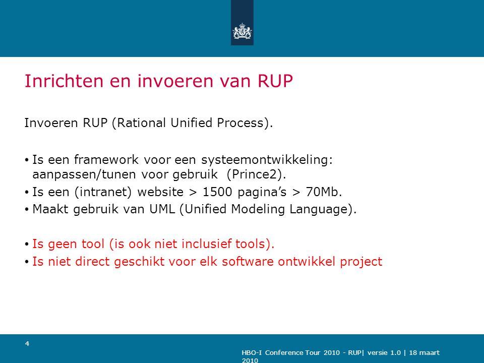HBO-I Conference Tour 2010 - RUP| versie 1.0 | 18 maart 2010 4 Inrichten en invoeren van RUP Invoeren RUP (Rational Unified Process). Is een framework