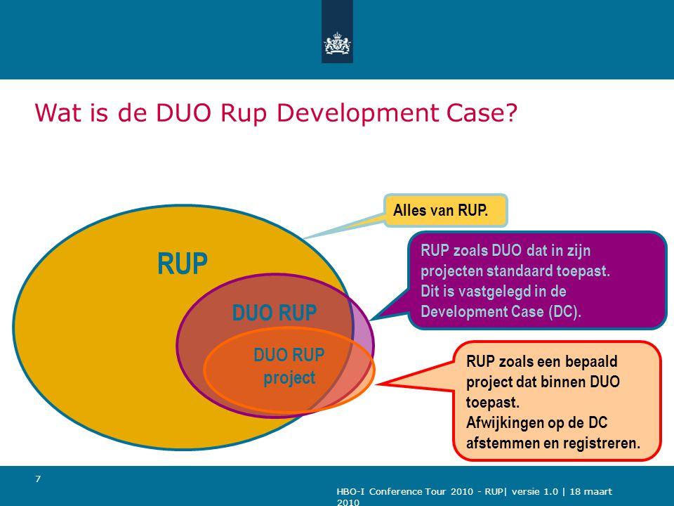HBO-I Conference Tour 2010 - RUP| versie 1.0 | 18 maart 2010 8 Onderwerpen Inrichten en invoeren van RUP Ervaringen met RUP Het vervolg