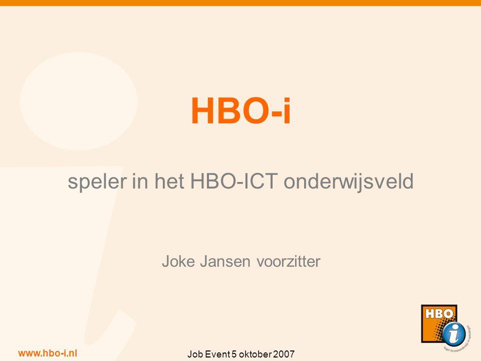 www.hbo-i.nl Job Event 5 oktober 2007 HBO-i speler in het HBO-ICT onderwijsveld Joke Jansen voorzitter