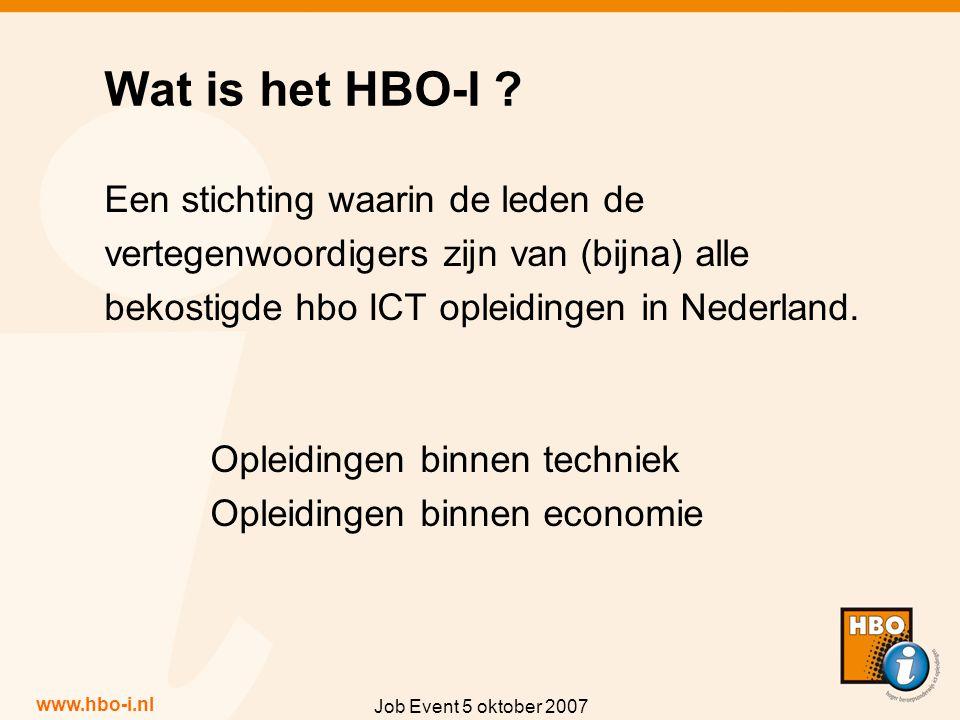 www.hbo-i.nl Job Event 5 oktober 2007 Een stichting waarin de leden de vertegenwoordigers zijn van (bijna) alle bekostigde hbo ICT opleidingen in Nederland.