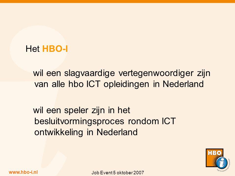 www.hbo-i.nl Job Event 5 oktober 2007 Het HBO-I wil een slagvaardige vertegenwoordiger zijn van alle hbo ICT opleidingen in Nederland wil een speler zijn in het besluitvormingsproces rondom ICT ontwikkeling in Nederland