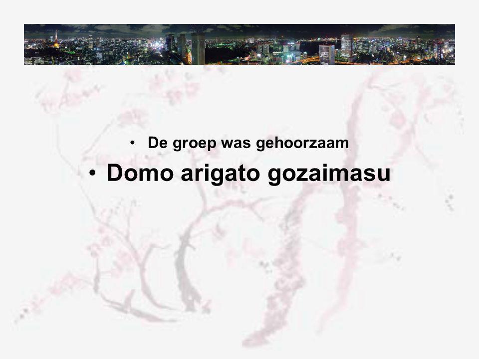 De groep was gehoorzaam Domo arigato gozaimasu