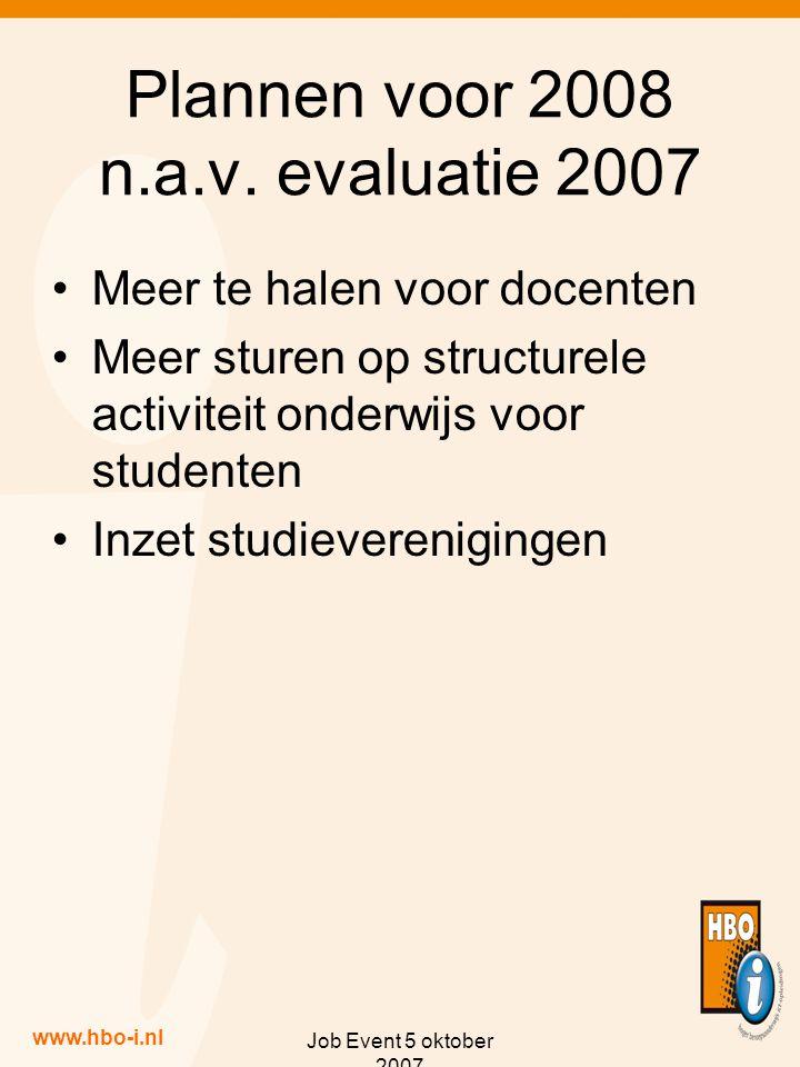 www.hbo-i.nl Job Event 5 oktober 2007 Plannen voor 2008 n.a.v.