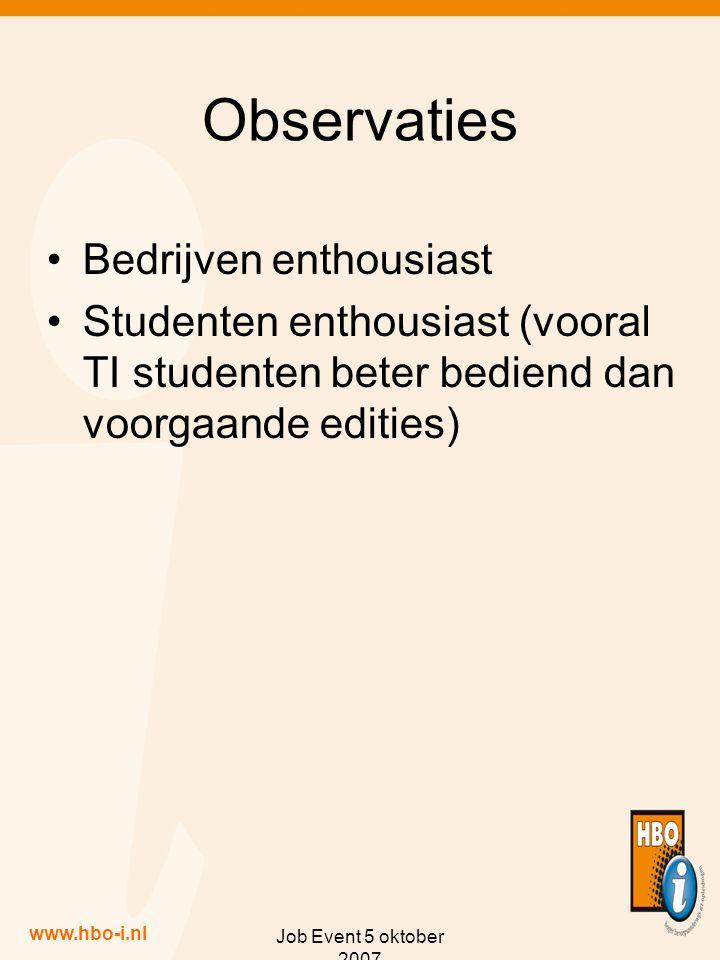 www.hbo-i.nl Job Event 5 oktober 2007 Observaties Bedrijven enthousiast Studenten enthousiast (vooral TI studenten beter bediend dan voorgaande edities)