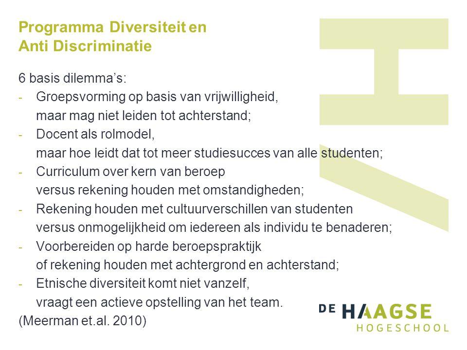 Programma Diversiteit en Anti Discriminatie 6 basis dilemma's: - Groepsvorming op basis van vrijwilligheid, maar mag niet leiden tot achterstand; - Do