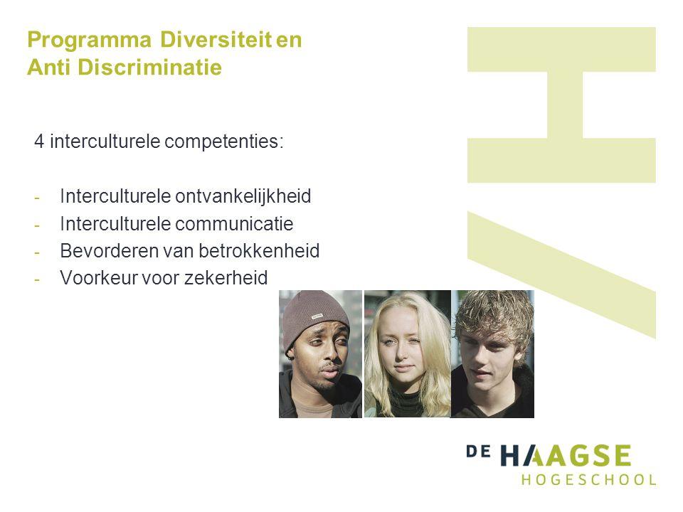 Programma Diversiteit en Anti Discriminatie 4 interculturele competenties: - Interculturele ontvankelijkheid - Interculturele communicatie - Bevorderen van betrokkenheid - Voorkeur voor zekerheid