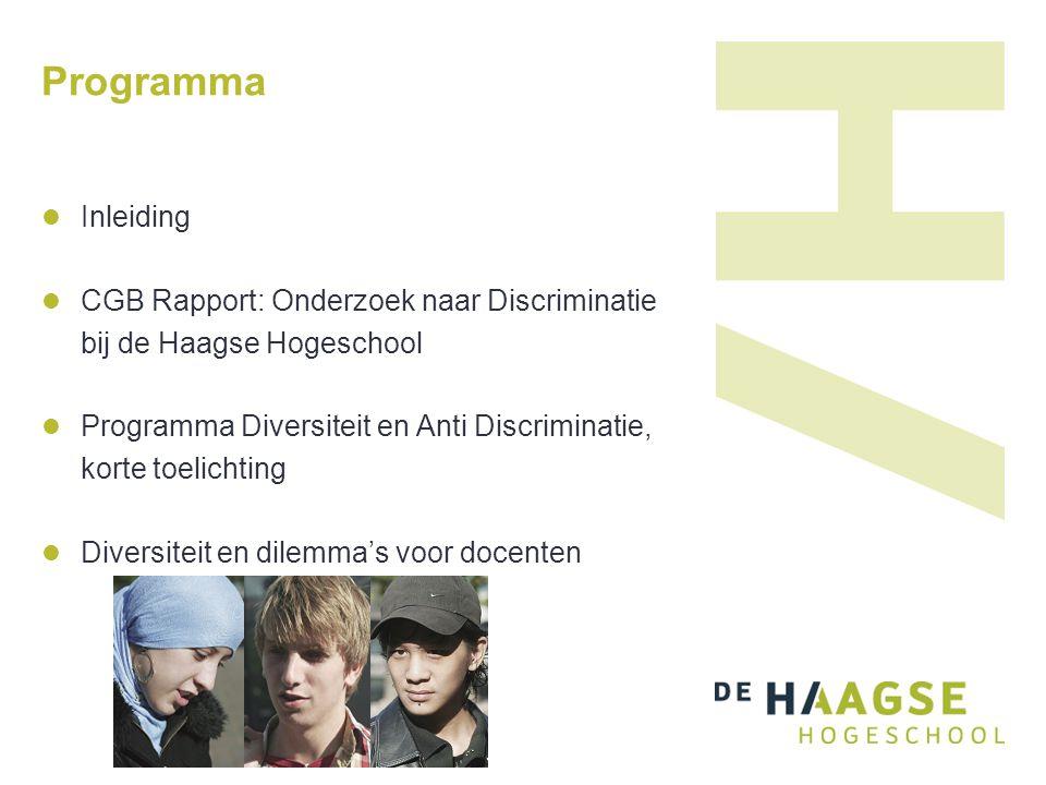 Programma Inleiding CGB Rapport: Onderzoek naar Discriminatie bij de Haagse Hogeschool Programma Diversiteit en Anti Discriminatie, korte toelichting Diversiteit en dilemma's voor docenten