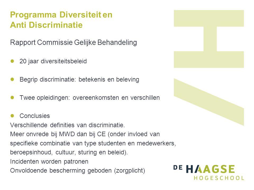 Programma Diversiteit en Anti Discriminatie Rapport Commissie Gelijke Behandeling 20 jaar diversiteitsbeleid Begrip discriminatie: betekenis en beleving Twee opleidingen: overeenkomsten en verschillen Conclusies Verschillende definities van discriminatie.