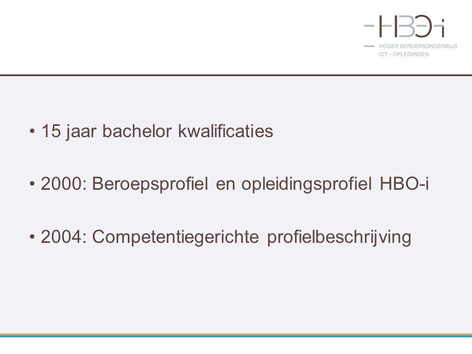 15 jaar bachelor kwalificaties 2000: Beroepsprofiel en opleidingsprofiel HBO-i 2004: Competentiegerichte profielbeschrijving