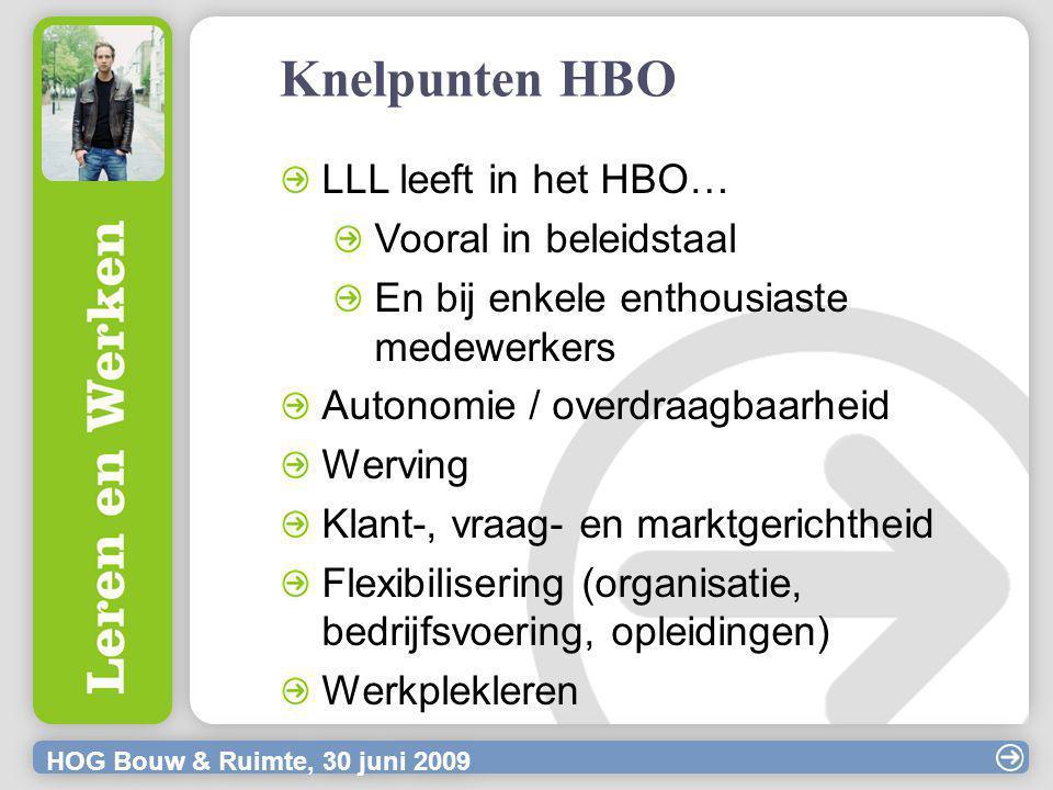 HOG Bouw & Ruimte, 30 juni 2009 Knelpunten HBO LLL leeft in het HBO… Vooral in beleidstaal En bij enkele enthousiaste medewerkers Autonomie / overdraagbaarheid Werving Klant-, vraag- en marktgerichtheid Flexibilisering (organisatie, bedrijfsvoering, opleidingen) Werkplekleren