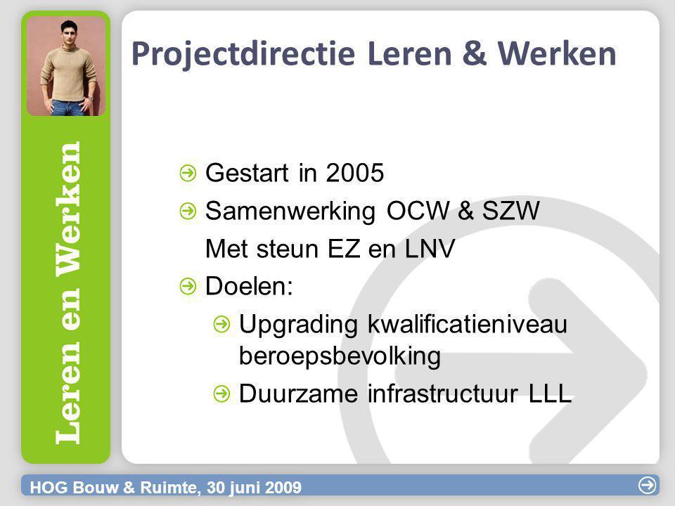 HOG Bouw & Ruimte, 30 juni 2009 Projectdirectie Leren & Werken Gestart in 2005 Samenwerking OCW & SZW Met steun EZ en LNV Doelen: Upgrading kwalificatieniveau beroepsbevolking Duurzame infrastructuur LLL
