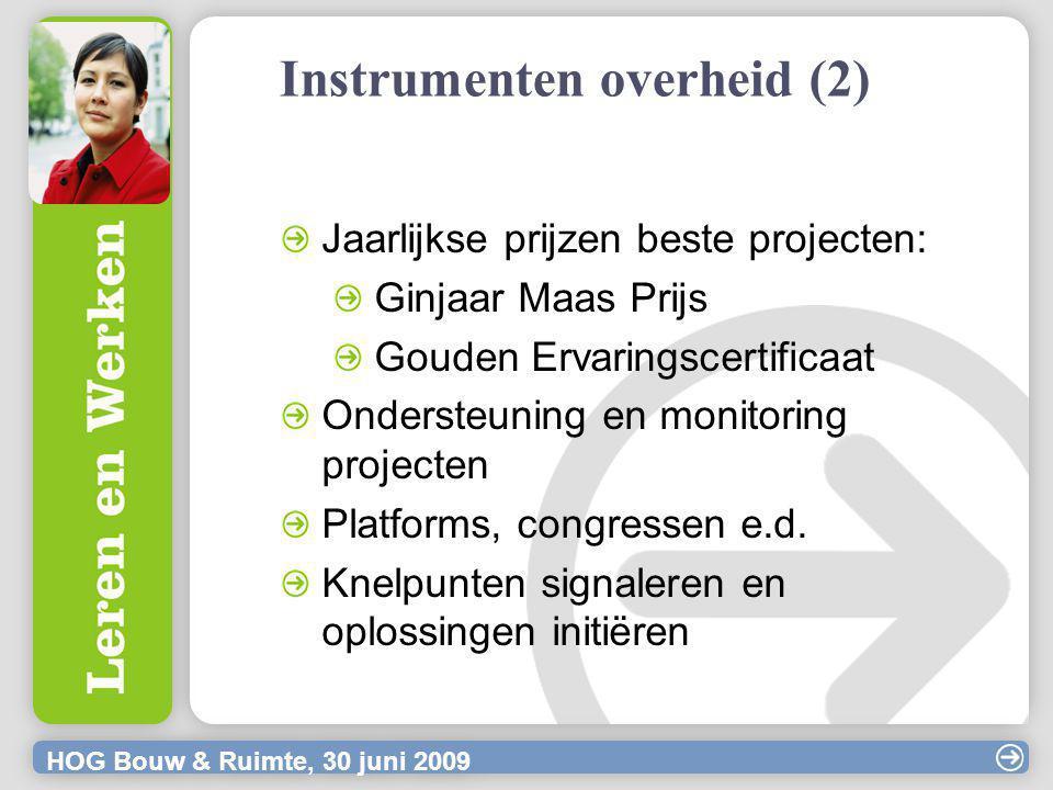 HOG Bouw & Ruimte, 30 juni 2009 Instrumenten overheid (2) Jaarlijkse prijzen beste projecten: Ginjaar Maas Prijs Gouden Ervaringscertificaat Ondersteuning en monitoring projecten Platforms, congressen e.d.