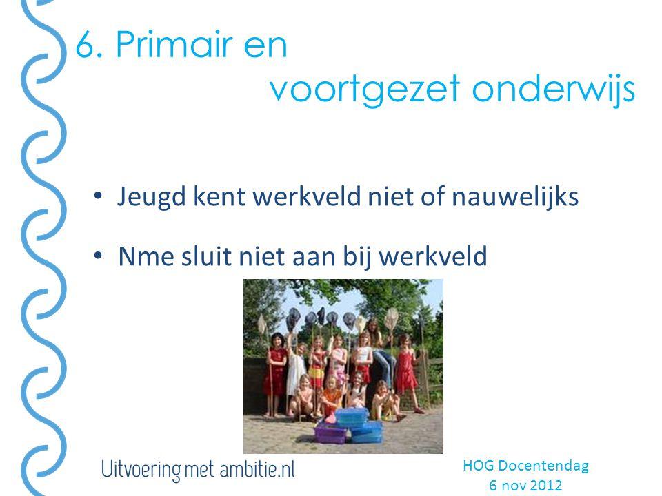 6. Primair en voortgezet onderwijs Jeugd kent werkveld niet of nauwelijks Nme sluit niet aan bij werkveld HOG Docentendag 6 nov 2012