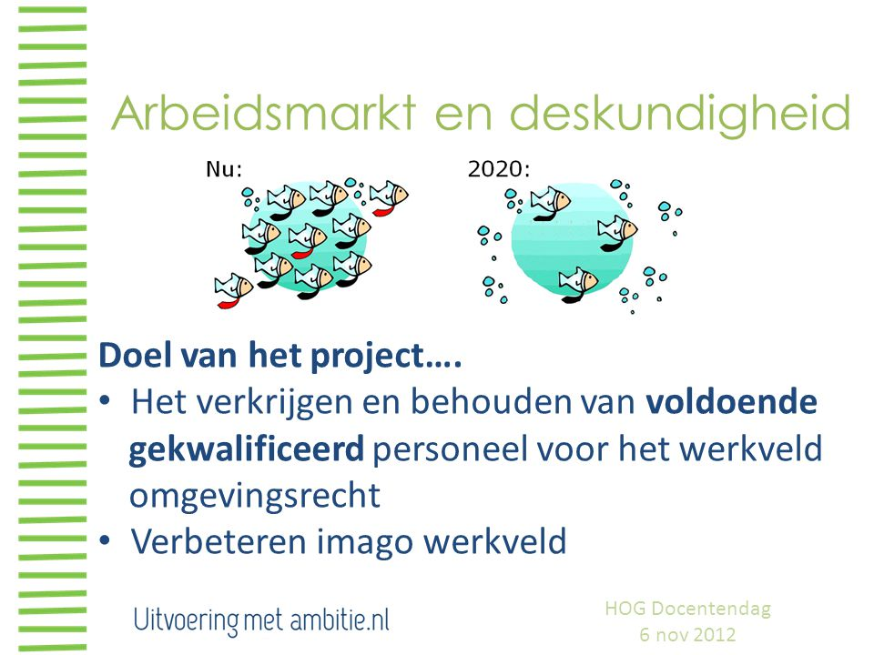 Arbeidsmarkt en deskundigheid Doel van het project…. Het verkrijgen en behouden van voldoende gekwalificeerd personeel voor het werkveld omgevingsrech