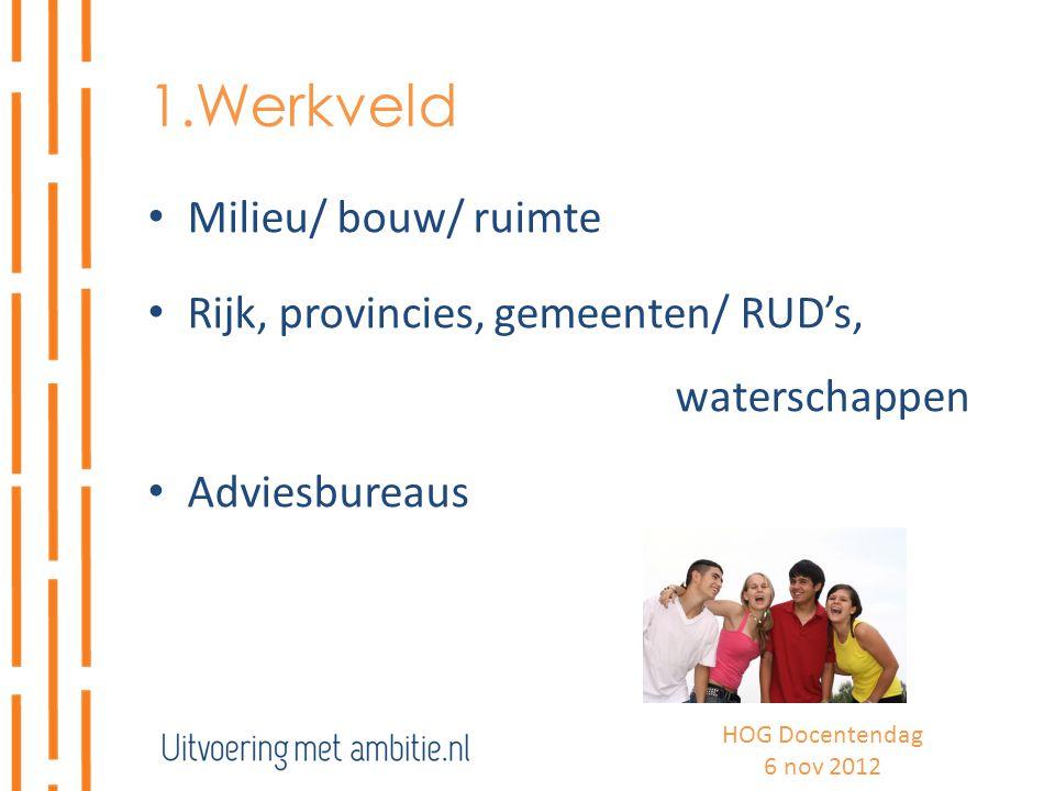 1.Werkveld Milieu/ bouw/ ruimte Rijk, provincies, gemeenten/ RUD's, waterschappen Adviesbureaus HOG Docentendag 6 nov 2012