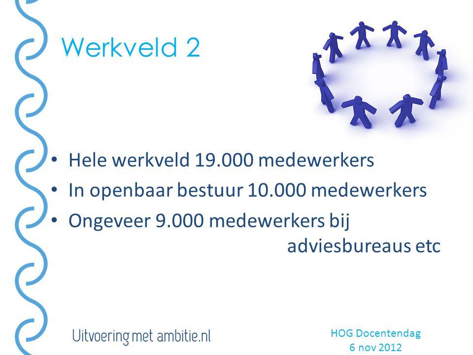 Werkveld 2 HOG Docentendag 6 nov 2012 Hele werkveld 19.000 medewerkers In openbaar bestuur 10.000 medewerkers Ongeveer 9.000 medewerkers bij adviesbureaus etc