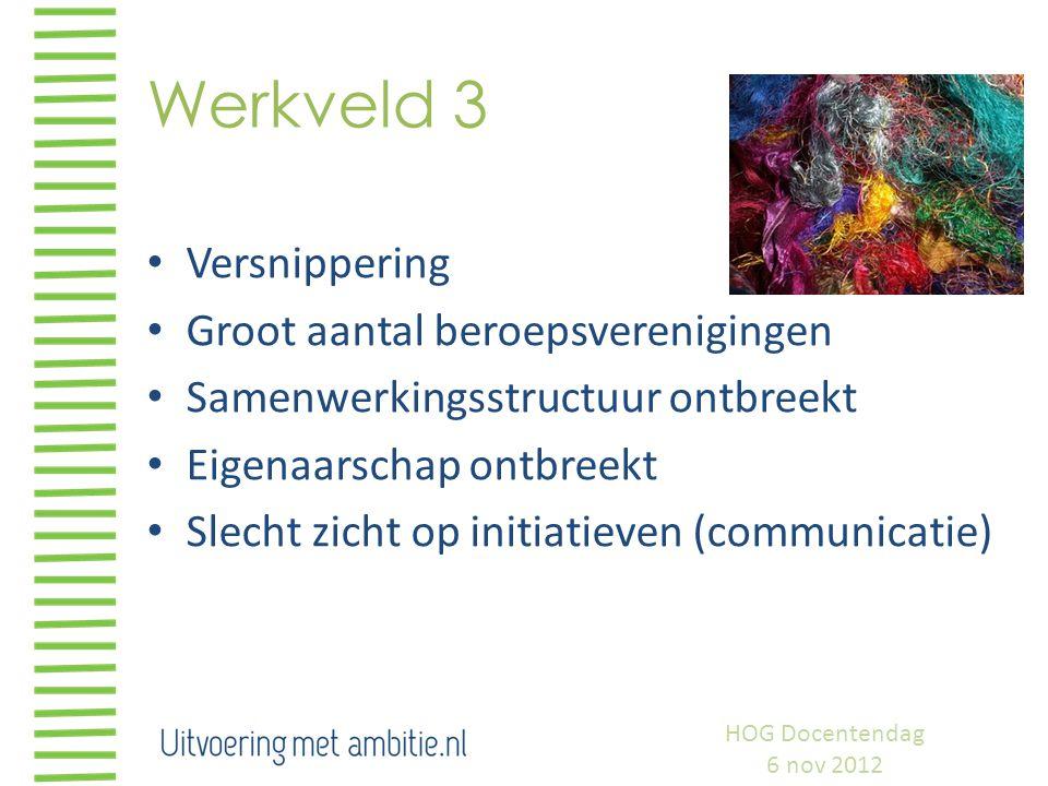 Werkveld 3 Versnippering Groot aantal beroepsverenigingen Samenwerkingsstructuur ontbreekt Eigenaarschap ontbreekt Slecht zicht op initiatieven (commu