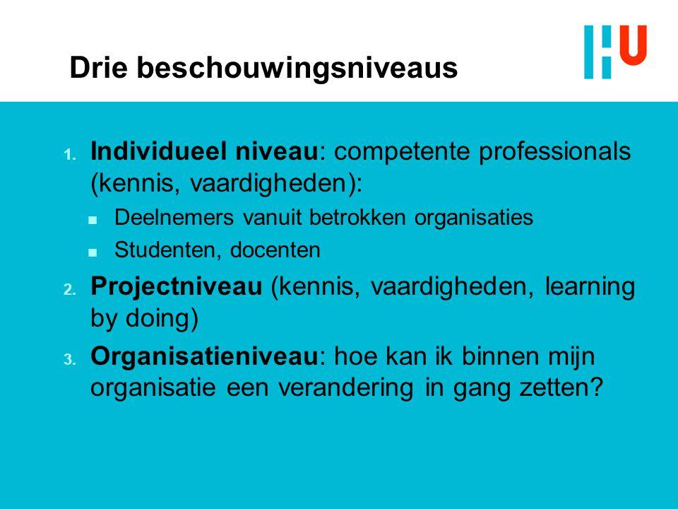 Drie beschouwingsniveaus 1. Individueel niveau: competente professionals (kennis, vaardigheden): n Deelnemers vanuit betrokken organisaties n Studente