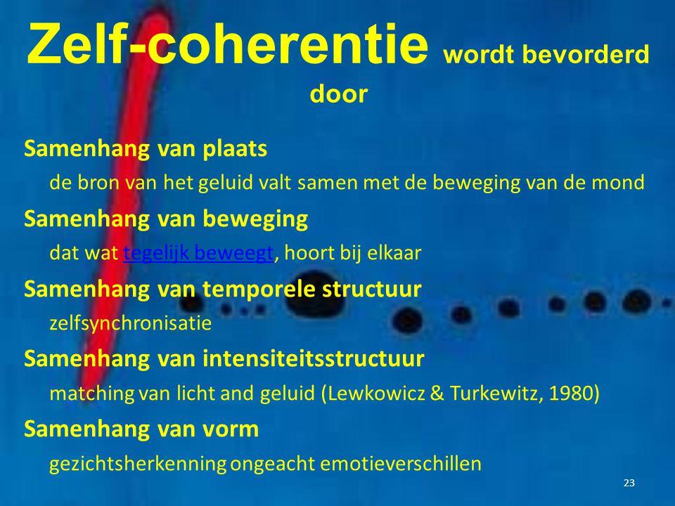 Zelf-coherentie wordt bevorderd door Samenhang van plaats de bron van het geluid valt samen met de beweging van de mond Samenhang van beweging dat wat