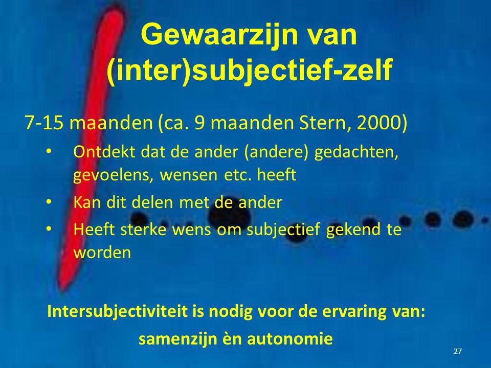 Gewaarzijn van (inter)subjectief-zelf 7-15 maanden (ca. 9 maanden Stern, 2000) Ontdekt dat de ander (andere) gedachten, gevoelens, wensen etc. heeft K