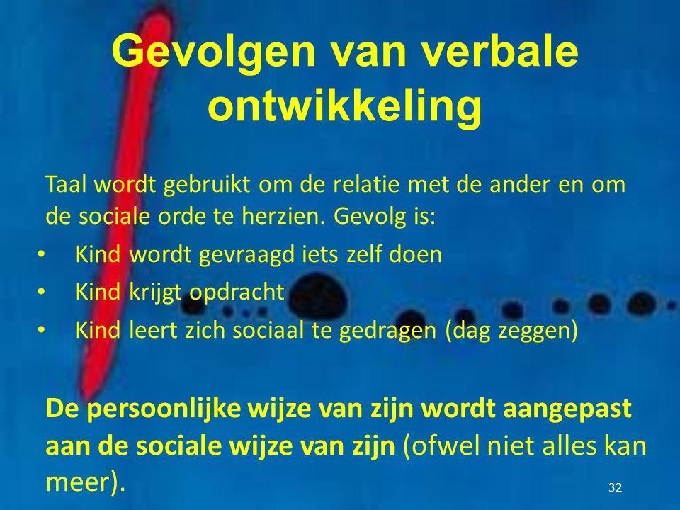 Gevolgen van verbale ontwikkeling Taal wordt gebruikt om de relatie met de ander en om de sociale orde te herzien. Gevolg is: Kind wordt gevraagd iets
