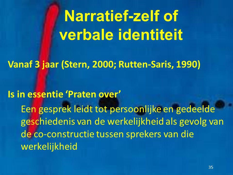 Narratief-zelf of verbale identiteit Vanaf 3 jaar (Stern, 2000; Rutten-Saris, 1990) Is in essentie 'Praten over' Een gesprek leidt tot persoonlijke en