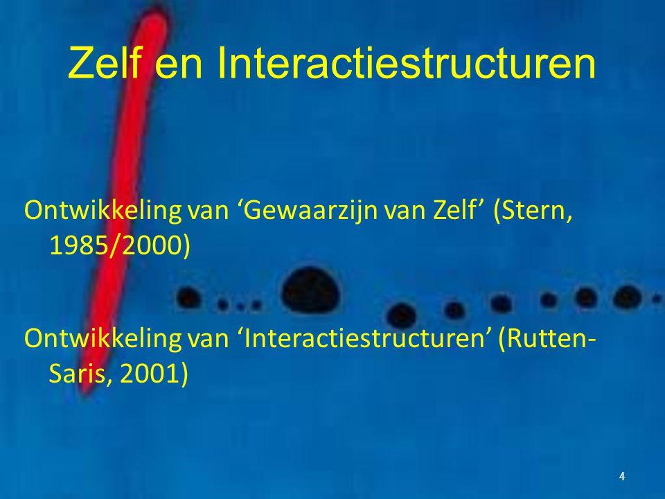 Zelf en Interactiestructuren Ontwikkeling van 'Gewaarzijn van Zelf' (Stern, 1985/2000) Ontwikkeling van 'Interactiestructuren' (Rutten- Saris, 2001) 4