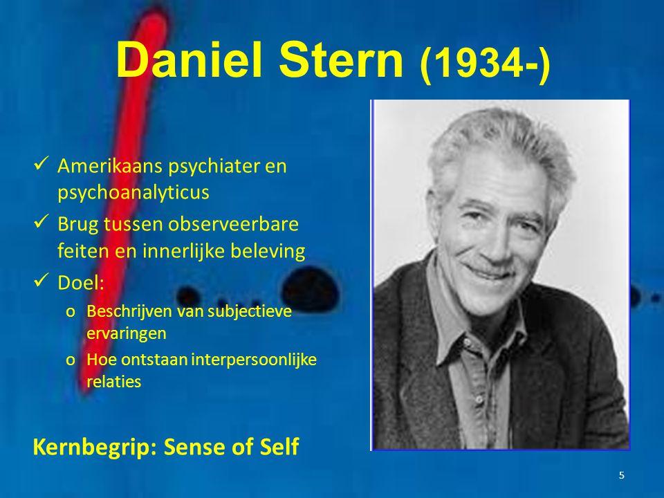 5 Daniel Stern (1934-) Amerikaans psychiater en psychoanalyticus Brug tussen observeerbare feiten en innerlijke beleving Doel: oBeschrijven van subjec