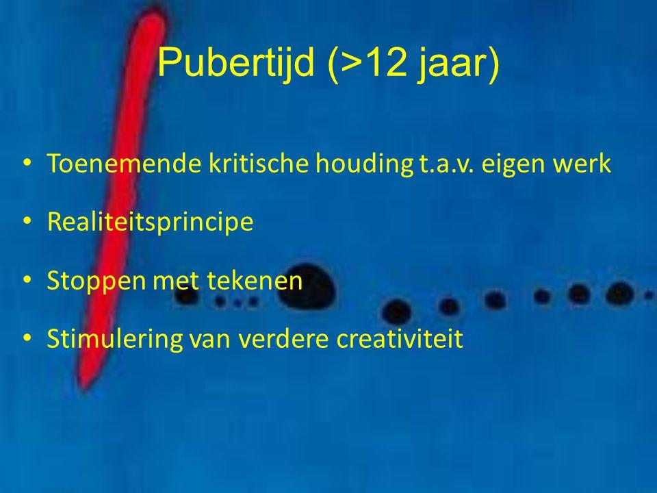 Pubertijd (>12 jaar) Toenemende kritische houding t.a.v. eigen werk Realiteitsprincipe Stoppen met tekenen Stimulering van verdere creativiteit