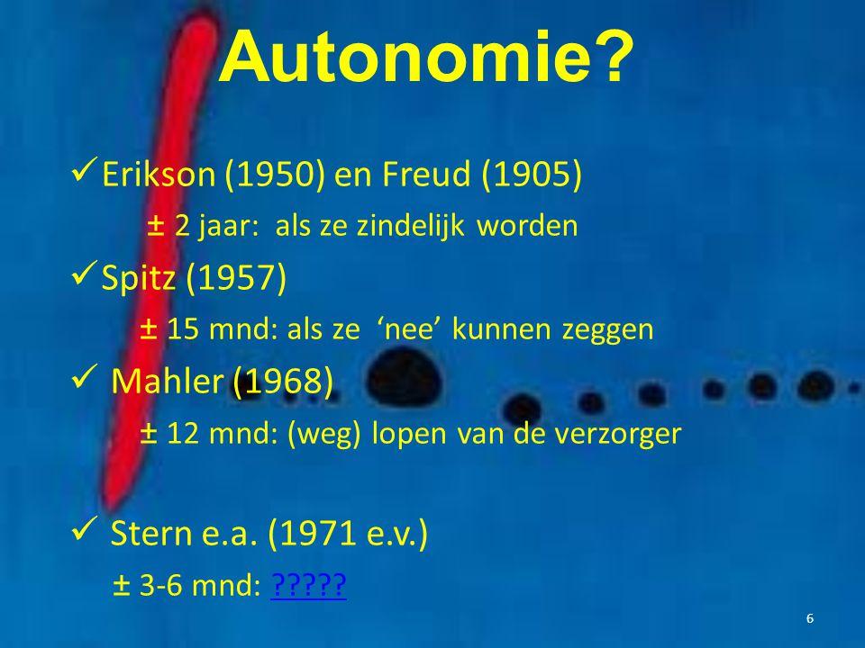 Autonomie? Erikson (1950) en Freud (1905) ± 2 jaar: als ze zindelijk worden Spitz (1957) ± 15 mnd: als ze 'nee' kunnen zeggen Mahler (1968) ± 12 mnd: