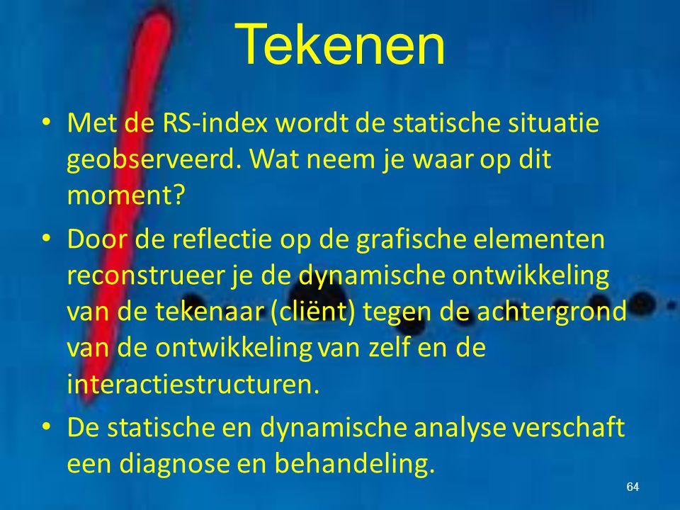 Tekenen Met de RS-index wordt de statische situatie geobserveerd. Wat neem je waar op dit moment? Door de reflectie op de grafische elementen reconstr