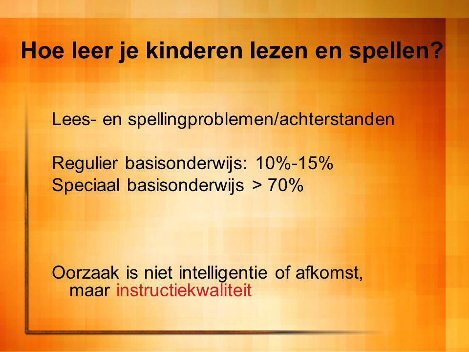 Hoe leer je kinderen lezen en spellen? Lees- en spellingproblemen/achterstanden Regulier basisonderwijs: 10%-15% Speciaal basisonderwijs > 70% Oorzaak