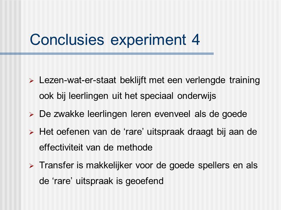 Conclusies experiment 4  Lezen-wat-er-staat beklijft met een verlengde training ook bij leerlingen uit het speciaal onderwijs  De zwakke leerlingen