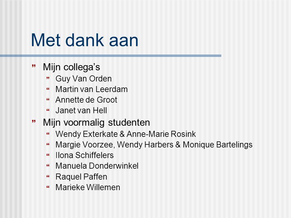 Met dank aan  Mijn collega's  Guy Van Orden  Martin van Leerdam  Annette de Groot  Janet van Hell  Mijn voormalig studenten  Wendy Exterkate &
