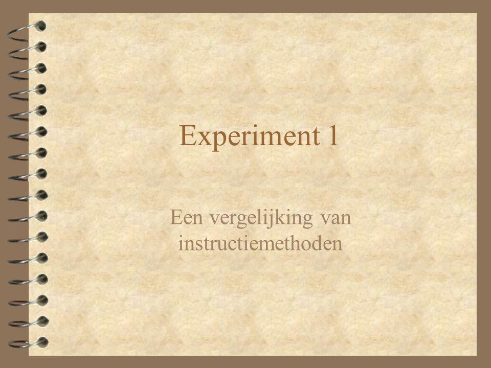Experiment 1 Een vergelijking van instructiemethoden