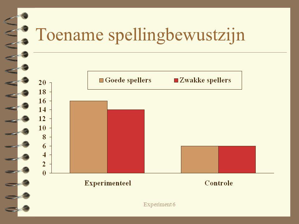 Experiment 6 Toename spellingbewustzijn
