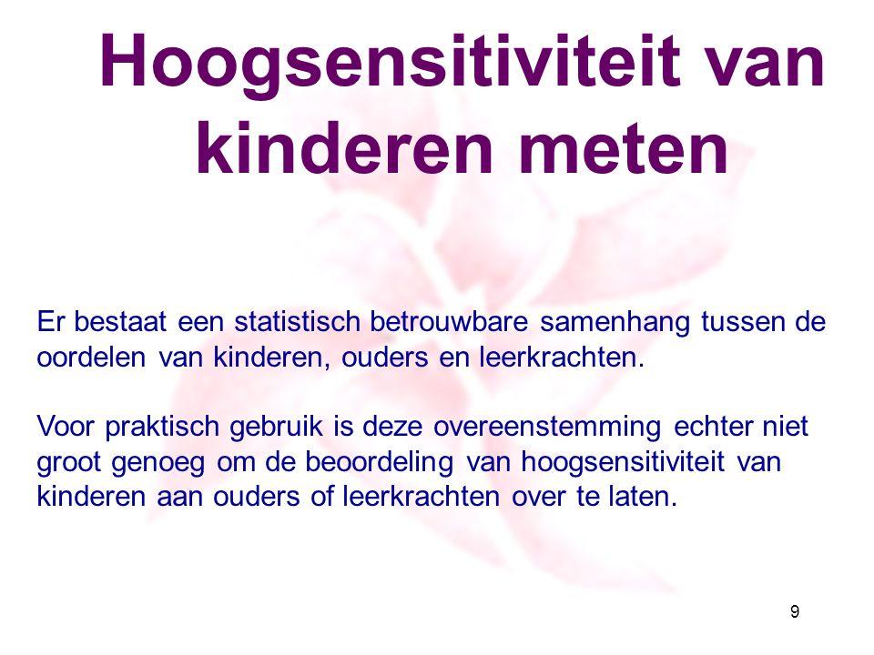 Hoogsensitiviteit van kinderen meten Er bestaat een statistisch betrouwbare samenhang tussen de oordelen van kinderen, ouders en leerkrachten. Voor pr