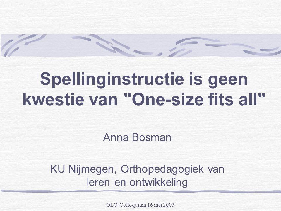 OLO-Colloquium 16 mei 2003 Spellinginstructie is geen kwestie van