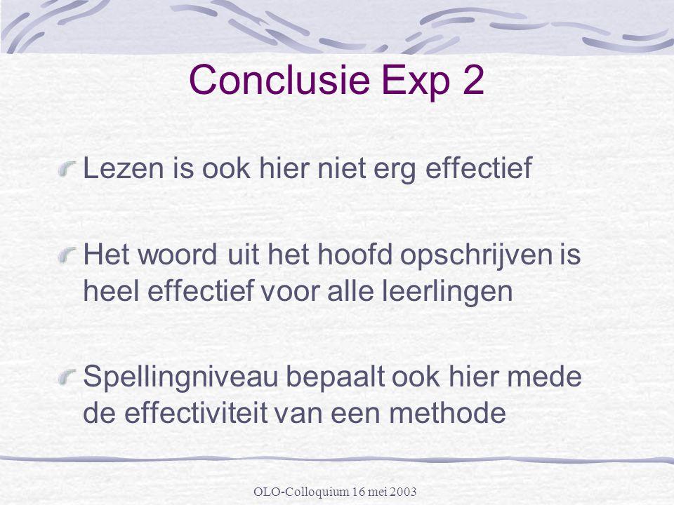 OLO-Colloquium 16 mei 2003 Conclusie Exp 2 Lezen is ook hier niet erg effectief Het woord uit het hoofd opschrijven is heel effectief voor alle leerli