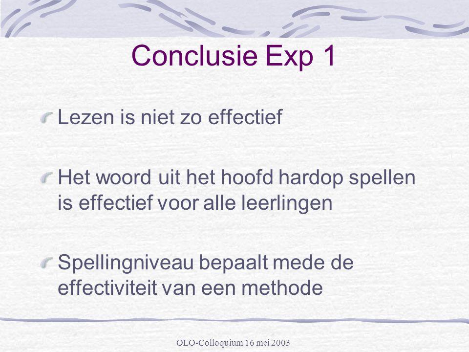 OLO-Colloquium 16 mei 2003 Conclusie Exp 1 Lezen is niet zo effectief Het woord uit het hoofd hardop spellen is effectief voor alle leerlingen Spellin