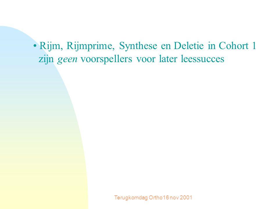 Terugkomdag Ortho16 nov 2001 Rijm, Rijmprime, Synthese en Deletie in Cohort 1 zijn geen voorspellers voor later leessucces