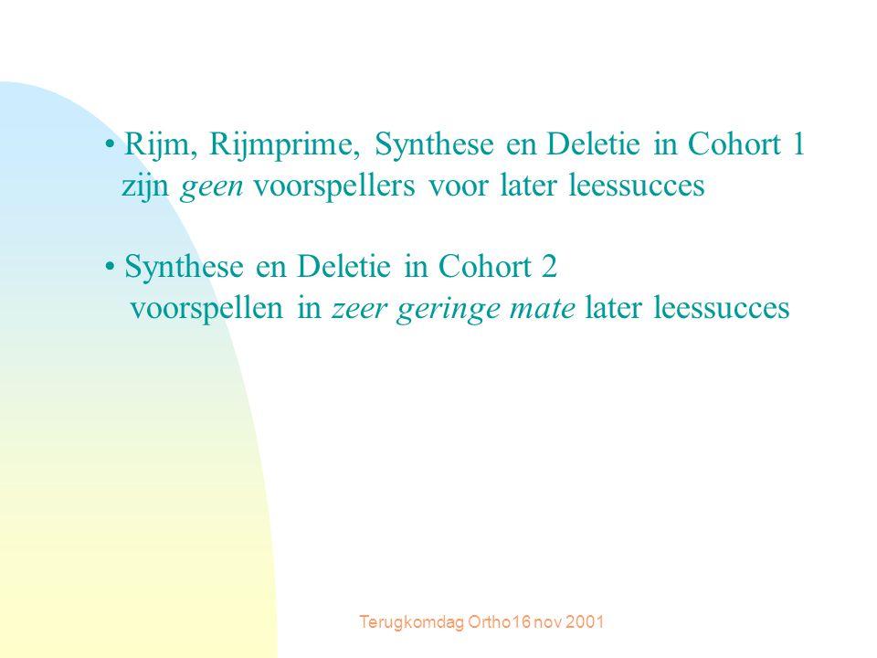 Terugkomdag Ortho16 nov 2001 Rijm, Rijmprime, Synthese en Deletie in Cohort 1 zijn geen voorspellers voor later leessucces Synthese en Deletie in Cohort 2 voorspellen in zeer geringe mate later leessucces