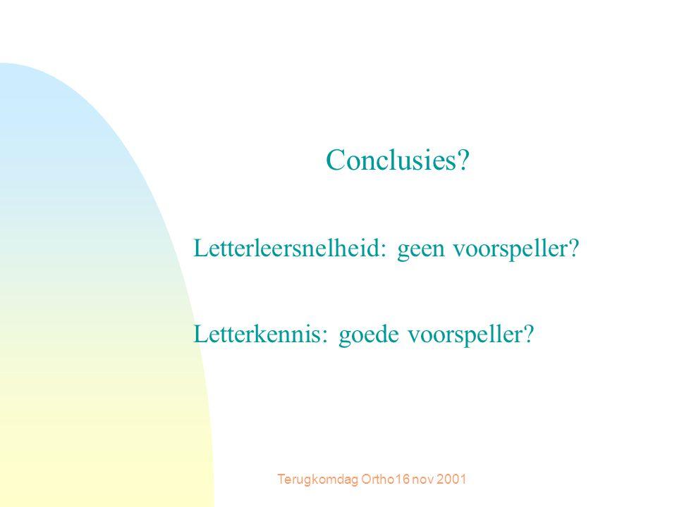 Terugkomdag Ortho16 nov 2001 Conclusies. Letterleersnelheid: geen voorspeller.