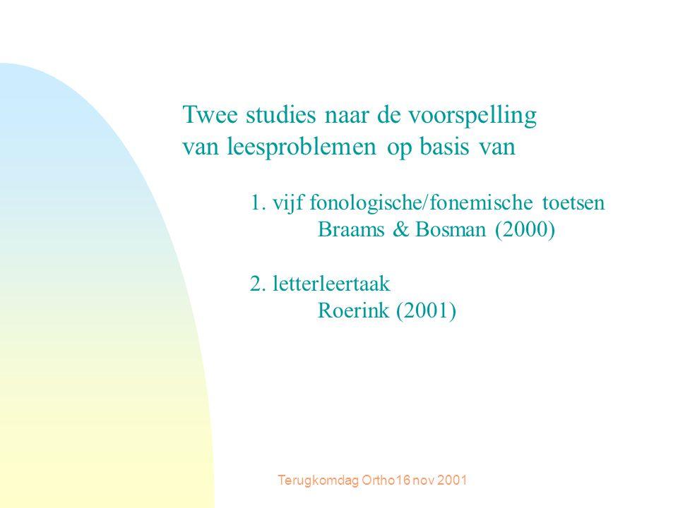 Terugkomdag Ortho16 nov 2001 Twee studies naar de voorspelling van leesproblemen op basis van 1.