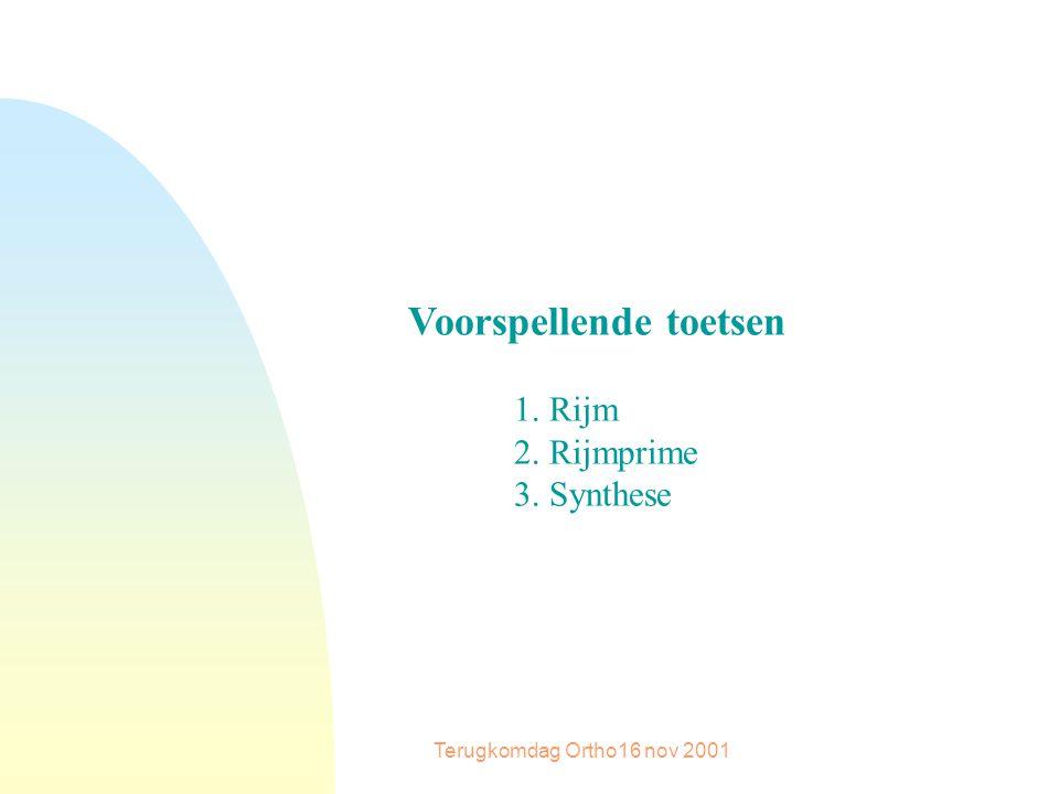 Terugkomdag Ortho16 nov 2001 Voorspellende toetsen 1. Rijm 2. Rijmprime 3. Synthese