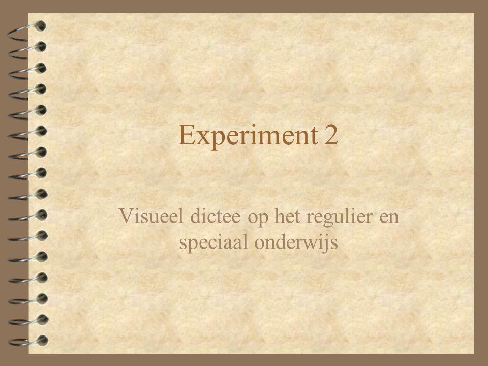 Experiment 2 Visueel dictee op het regulier en speciaal onderwijs