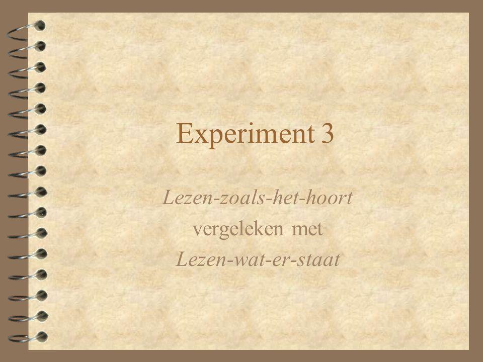 Experiment 3 Lezen-zoals-het-hoort vergeleken met Lezen-wat-er-staat