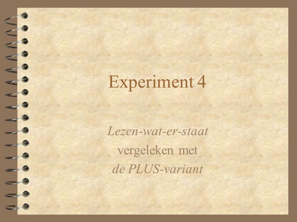 Experiment 4 Lezen-wat-er-staat vergeleken met de PLUS-variant