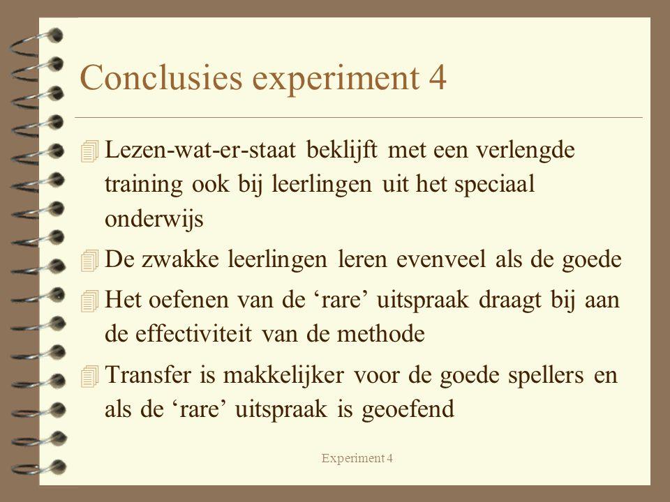 Experiment 4 Conclusies experiment 4 4 Lezen-wat-er-staat beklijft met een verlengde training ook bij leerlingen uit het speciaal onderwijs 4 De zwakke leerlingen leren evenveel als de goede 4 Het oefenen van de 'rare' uitspraak draagt bij aan de effectiviteit van de methode 4 Transfer is makkelijker voor de goede spellers en als de 'rare' uitspraak is geoefend